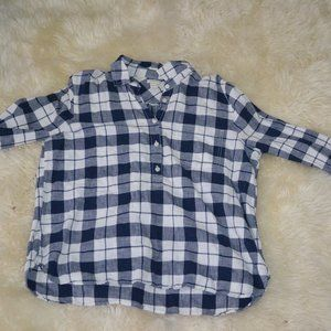 Blue and White J. Crew Factory  Flannel Shirt